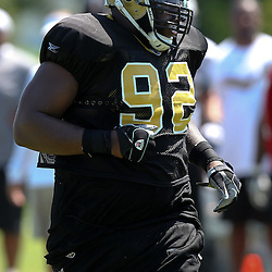July 31, 2011; Metairie, LA, USA; New Orleans Saints defensive tackle Shaun Rogers (92) during training camp practice at the New Orleans Saints practice facility. Mandatory Credit: Derick E. Hingle