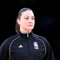 10 April 2014: NBA referee Lauren Holtkamp is seen prior to the Los Angeles Lakers 106-98 victory over the Minnesota Timberwolves, at the Staples Center, Los Angeles, California, USA.