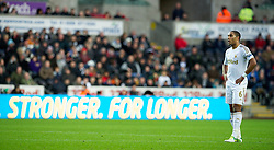 SWANSEA, WALES - Saturday, December 8, 2012: Swansea City's captain Ashley Williams looks dejected as Norwich City score the third goal during the Premiership match at the Liberty Stadium. (Pic by David Rawcliffe/Propaganda)