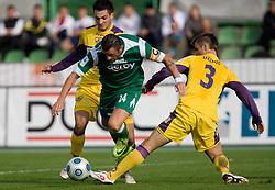Sebastjan Cimirotic of Olimpija vs Elvedin Dzinic at 13th Round of Prva Liga football match between NK Olimpija and Maribor, on October 17, 2009, in ZAK Stadium, Ljubljana. (Photo by Vid Ponikvar / Sportida)