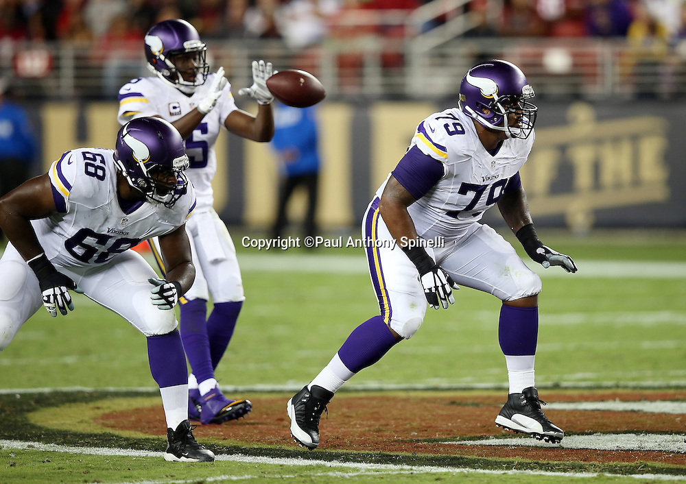 Minnesota Vikings offensive guard Michael Harris (79) pass blocks during the 2015 NFL week 1 regular season football game against the San Francisco 49ers on Monday, Sept. 14, 2015 in Santa Clara, Calif. The 49ers won the game 20-3. (©Paul Anthony Spinelli)