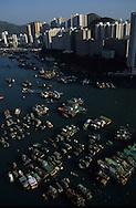 Hong Kong. port,  junks and at night