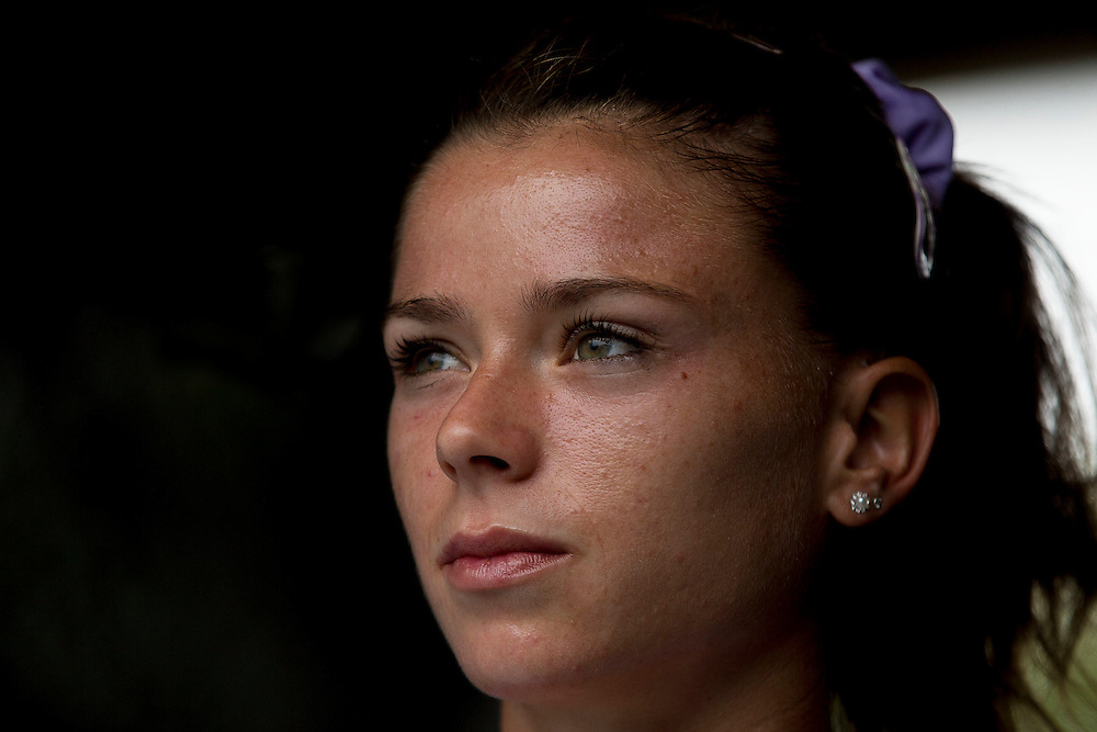 August 22, 2014, New Haven, CT:<br /> Camila Giorgi looks on before the semi-final match against Magdalena Rybarikova on day eight of the 2014 Connecticut Open at the Yale University Tennis Center in New Haven, Connecticut Friday, August 22, 2014.<br /> (Photo by Billie Weiss/Connecticut Open)