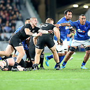 Manu Samoa never quit, but somehow the All Blacks smartly and frequently found a way to they try line in the second half.  The New Zealand All Blacks defeated Manu Samoa 15's 83-0 at Eden Park, Auckland, New Zealand.  Photo by Barry Markowitz, 6/16/17