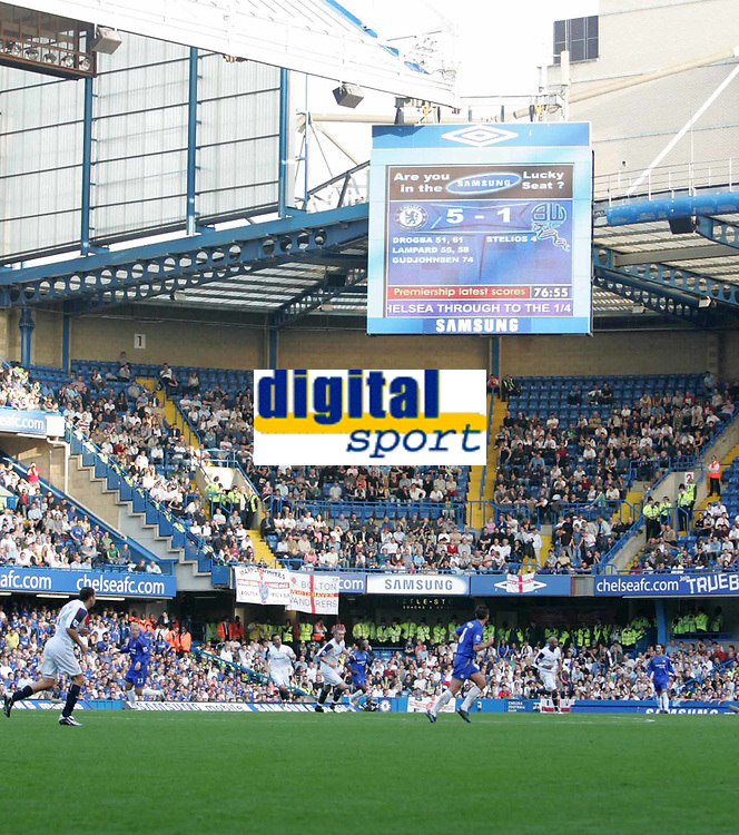 Photo: Lee Earle.<br /> Chelsea v Bolton Wanderers. The Barclays Premiership.<br /> 15/10/2005. Boring, boring Chelsea??? The score board shows otherwise.