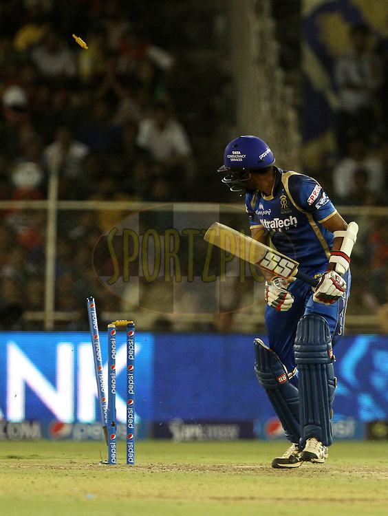 Rajasthan Royals player Dhawal Kulkarni gets bowled during match 22 of the Pepsi IPL 2015 (Indian Premier League) between The Rajasthan Royals and The Royal Challengers Bangalore held at the Sardar Patel Stadium in Ahmedabad , India on the 24th April 2015.<br /> <br /> Photo by:  Vipin Pawar / SPORTZPICS / IPL