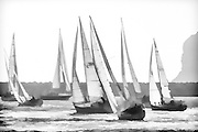 Black and white photographic artwork of sailboats in Dana Point harbor, CA