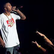 September 2, 2012 - Holmdel, NJ : The annual 'Rock the Bells' hip-hop festival took place at the PNC Bank Arts Center in Holmdel, NJ over the Labor Day weekend. Hip hop artist NAS performs on Sunday night. CREDIT: Karsten Moran for The New York Times