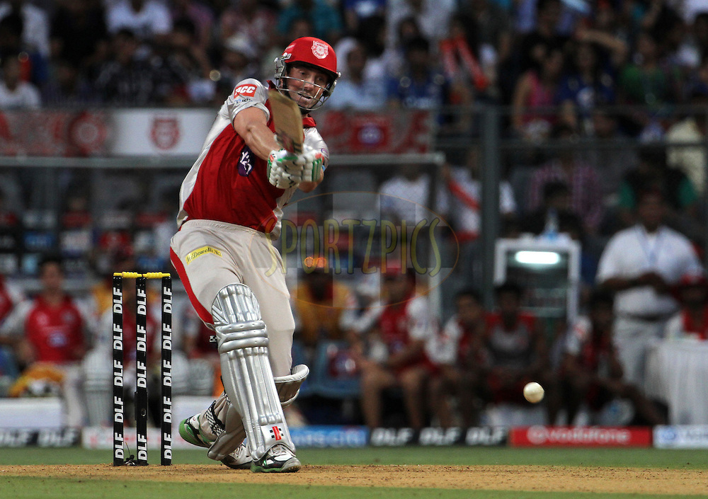 Kings XI Punjab player Shaun Marsh plays a shot during match 28 of the Indian Premier League ( IPL) 2012  between The Mumbai Indians and the Kings X1 Punjab held at the Wankhede Stadium in Mumbai on the 22nd April 2012..Photo by: Vipin Pawar/IPL/SPORTZPICS
