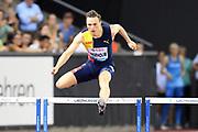 Karsten Warholm (NOR) wins the 400m hurdles in a meet record 46.92 to become the third man to run under 47 seconds in the IAAF Diamond League final during the Weltkasse Zurich at Letzigrund Stadium, Thursday, Aug. 29, 2019, in Zurich, Switzerland. (Jiro Mochizuki/Image of Sport)