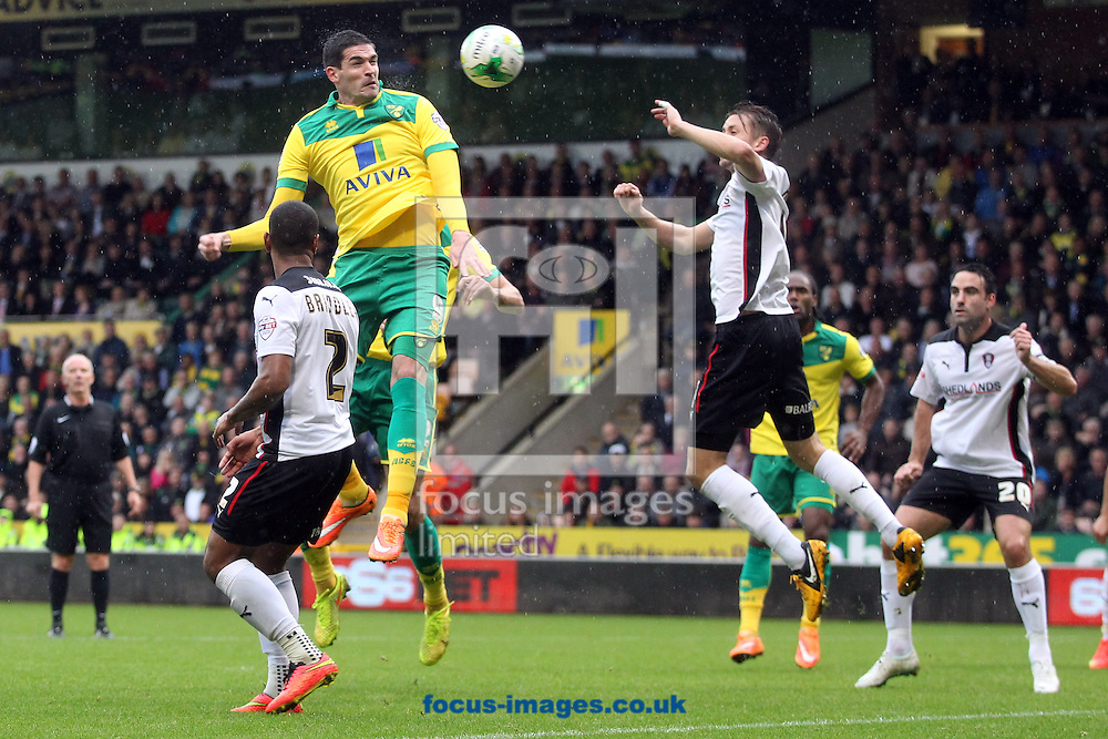 Kyle Lafferty of Norwich heads for goal during the Sky Bet Championship match at Carrow Road, Norwich<br /> Picture by Paul Chesterton/Focus Images Ltd +44 7904 640267<br /> 04/10/2014