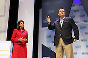 Senator and GOP presidential candidate Ted Cruz answers a question from South Carolina Gov. Nikki Haley at the Heritage Foundation Take Back America candidate forum September 18, 2015 in Greenville, South Carolina. The event features 11 presidential candidates but Trump unexpectedly cancelled at the last minute.