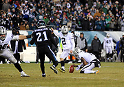 Dec 25, 2017; Philadelphia, PA, USA; Oakland Raiders kicker Giorgio Tavecchio (2) out of the hold of punter Marquette King (7) during a NFL football game at Lincoln Financial Field. The Eagles defeated the Raiders 19-10. Photo by Reuben Canales