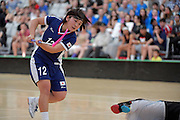 Japan&rsquo;s Natsumi Yokota in action during the World Floorball Championships 2017 Qualification for Asia Oceania Region Final - Australia v Japan at ASB Sports Centre , Wellington, New Zealand on Sunday 5 February 2017.<br /> Photo by Masanori Udagawa<br /> www.photowellington.photoshelter.com.