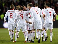 Fotball<br /> EM-kvalifisering<br /> Norge v Danmark / Norway v Denmark 1:1<br /> Ullevaal Stadion<br /> 26.03.2011<br /> Foto: Morten Olsen, Digitalsport<br /> <br /> Dennis Rommedahl (10) gratuleres med 1:0 til Danmark