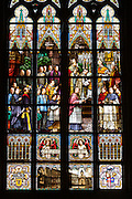 Linz, Cultural Capital of Europe 2009. Neuer Dom (New Dome church). Colorful windows with K&K officers and the bishop.