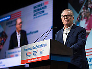 10 AUGUST 2019 - DES MOINES, IOWA: JOHN FEINBLATT, President of Every Town for Gun Safety, welcomes people to the Presidential Gun Sense Forum. Several thousand people from as far away as Milwaukee, WI, and Chicago, came to Des Moines Saturday for the Presidential Gun Sense Forum. Most of the Democratic candidates for president attended the event, which was organized by Moms Demand Action, Every Town for Gun Safety, and Students Demand Action.          PHOTO BY JACK KURTZ