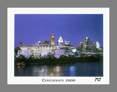 Signed and numbered 19x24 poster of Cincinnati in the year 2000, with a freshly built Paul Brown Stadium