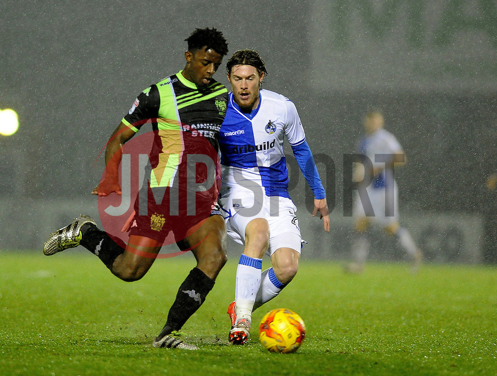 Greg Leigh of Bury clears from Luke James of Bristol Rovers - Mandatory by-line: Neil Brookman/JMP - 10/12/2016 - FOOTBALL - Memorial Stadium - Bristol, England - Bristol Rovers v Bury - Sky Bet League One