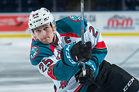 KELOWNA, CANADA - JANUARY 30: Cal Foote #25 of the Kelowna Rockets warms up with a shot on net against the Medicine Hat Tigers on January 30, 2017 at Prospera Place in Kelowna, British Columbia, Canada.  (Photo by Marissa Baecker/Shoot the Breeze)  *** Local Caption ***