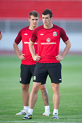 NOVI SAD, SERBIA - Monday, September 10, 2012: Wales' Gareth Bale and captain Aaron Ramsey during a training session at the Karadorde Stadium ahead of the 2014 FIFA World Cup Brazil Qualifying Group A match against Serbia. (Pic by David Rawcliffe/Propaganda)
