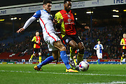 Blackburn Rovers midfielder, Ben Marshall (10) and battles during the Sky Bet Championship match between Blackburn Rovers and Birmingham City at Ewood Park, Blackburn, England on 8 March 2016. Photo by Pete Burns.