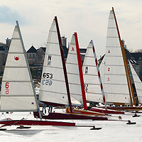 "(PSTORE) Red Bank 1/28/2004   Ice Boats around the ""pit area"" of the Ice Boat Club during the first real day of iceboating on the Navesink River.  Michael J. Treola Staff Photographer....MJT"