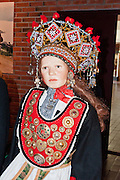 See historic Norwegian traditional dress and costumes on display at the Hardanger Folk Museum, founded in 1911 in Utne, Norway.