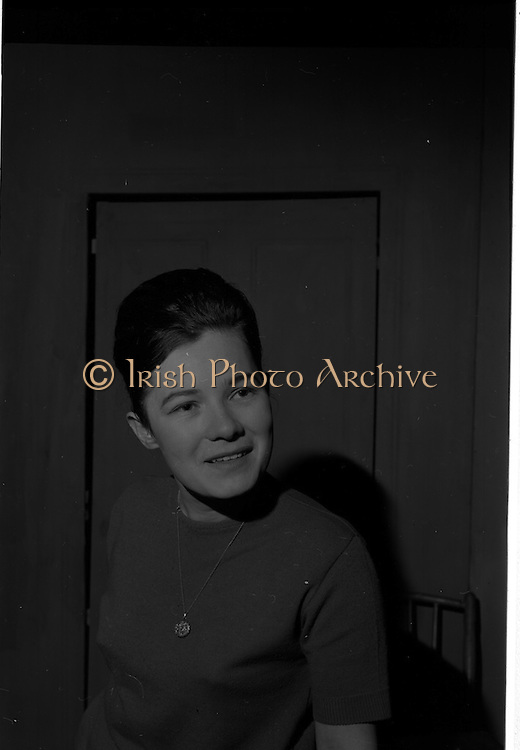 "04/03/1964<br /> 03/04/1964<br /> 04 March 1964<br /> Rehearsal of ""La Fheile Mhicil"" at Damer Hall Theatre, Dublin for Gael Linn. ""La Fheile Mhicil"" Eoghan O Tuairisc's Oireachtas prize-winning play was to be staged from 11th March.  Image shows Siobhan Ni Chinneide who played the part of a young postulant."