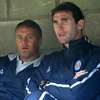 St Johnstone v Leicester City..24.07.04 (Friendly) <br />New signing Martin Keown with Mick Adams. Keown is not playing today<br />Picture by Graeme Hart.<br />Copyright Perthshire Picture Agency<br />Tel: 01738 623350  Mobile: 07990 594431