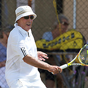 John O' Brien, Australia,  in action in the 75 Mens Singles  during the 2009 ITF Super-Seniors World Team and Individual Championships at Perth, Western Australia, between 2-15th November, 2009.
