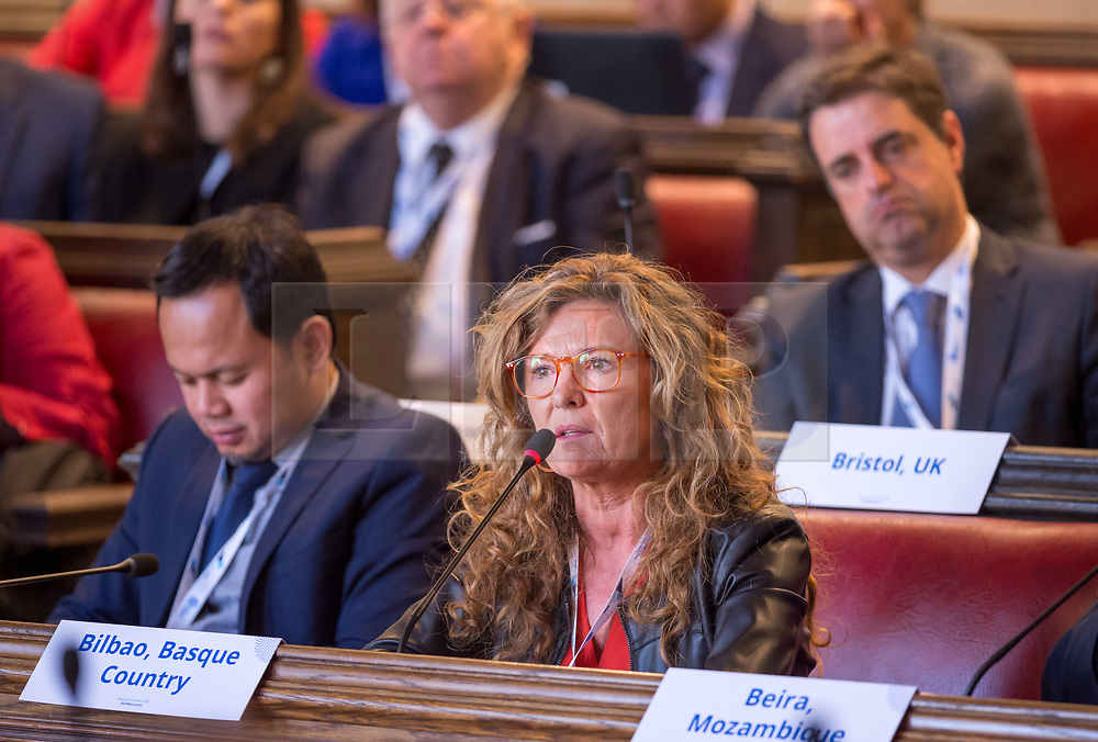 © Licensed to London News Pictures. 22/10/2018. Bristol, UK. Global Parliament of Mayors Annual Summit, 21-23 October 2018, at Bristol City Hall. Picture of GOTZONE SAGARDUI, Mayor of Bilbao, Basque Country, taking part in the plenary session on harnessing the power of migration. The Global Parliament of Mayors 2018 is the biggest and most ambitious Annual Summit to date. GPM Bristol 2018 will host up to 100 global mayors for an action-focused summit that addresses some of the biggest challenges facing today's world cities. GPM Bristol 2018's theme, Empowering Cities as Drivers of Change, will focus minds on global governance and the urgent need for the influence, expertise and leadership of cities to be felt as international policy is shaped. GPM Bristol 2018 will provide mayoral delegates with a global network of connections and a space to develop the collective city voice necessary to drive positive change. The programme will engage participants in decision-making, with panels, debate and voting on priority issues including migration and inclusion, urban security and health, and is a unique chance to influence decisions on the most pressing issues of our time. Photo credit: Simon Chapman/LNP