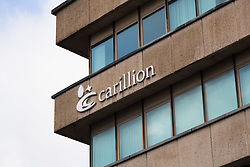 © Licensed to London News Pictures. 15/01/2018. The scene outside Carillion Headquarters in Salop Street, Wolverhampton this lunchtime as workers learn of the companies collapse. Photo credit: Dave Warren/LNP