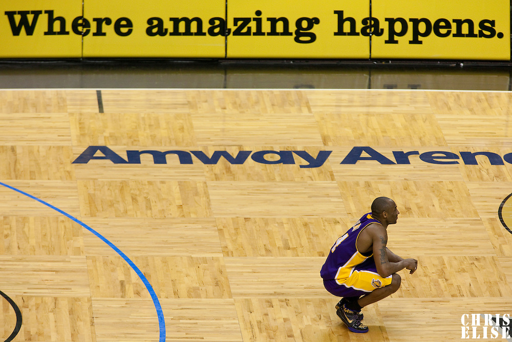 14 June 2009: Kobe Bryant of the Los Angeles Lakers rests during game 5 of the 2009 NBA Finals won 99-86 by the Los Angeles Lakers over the Orlando Magic at Amway Arena, in Orlando, Florida, USA. Kobe Bryant scores 30 points and leads the Lakers to15th Championship.