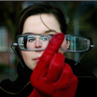 Nederland. amsterdam.30 januari 2004..klapstoel.Actrice Thekla Reuten, genomineerd voor 2 Oscars voor haar rol in de speelfilm, de Tweeling.