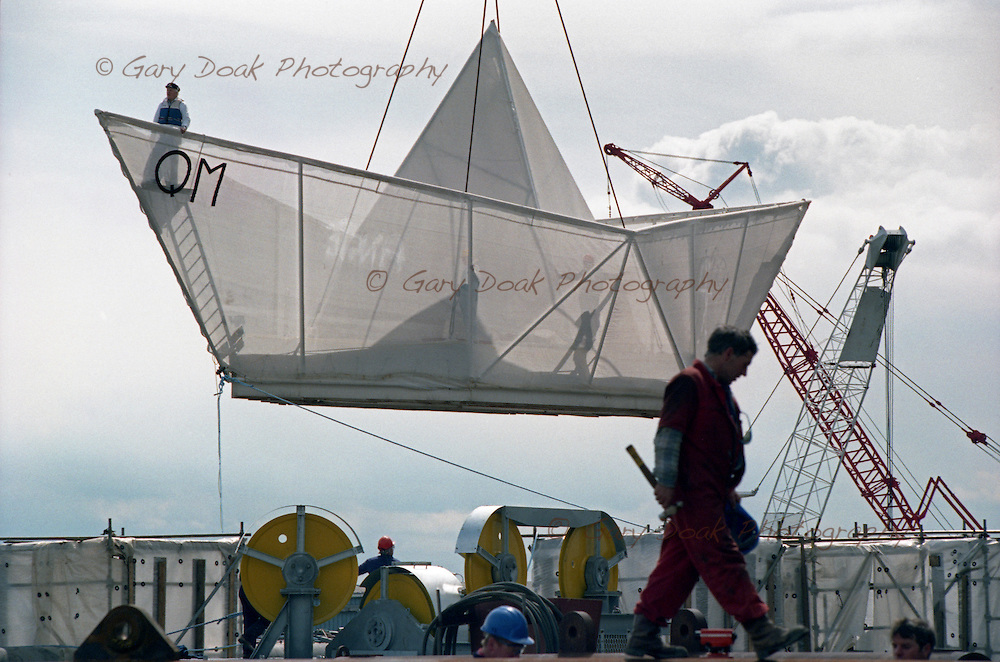 George Wyllie's Paper Boat is launched at Consafe Yard, Burntisland on 6th June 1995.© Gary Doak Photography.