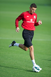 CARDIFF, WALES - Saturday, October 13, 2012: Wales' James Wilson during a recovery training session ahead of the Brazil 2014 FIFA World Cup Qualifying Group A match against Croatia at the Vale of Glamorgan Hotel. (Pic by David Rawcliffe/Propaganda)