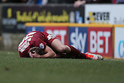Bradford City defender Anthony McMahon (29)  goes down after a foul during the Sky Bet League 1 match between Bradford City and Millwall at the Coral Windows Stadium, Bradford, England on 26 March 2016. Photo by Simon Davies.