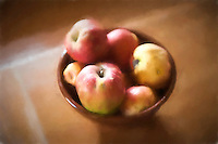 A bowl of apples with a pastel and watercolor effect.