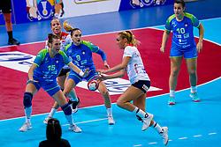 02-12-2019 JAP: Slovenia - Norway, Kumamoto<br /> Second day 24th IHF Womenís Handball World Championship, Slovenia lost the second match against Norway with 20 - 36. / Teja Ferfolja #15 of Slovenia, Nina Zabjek #9 of Slovenia