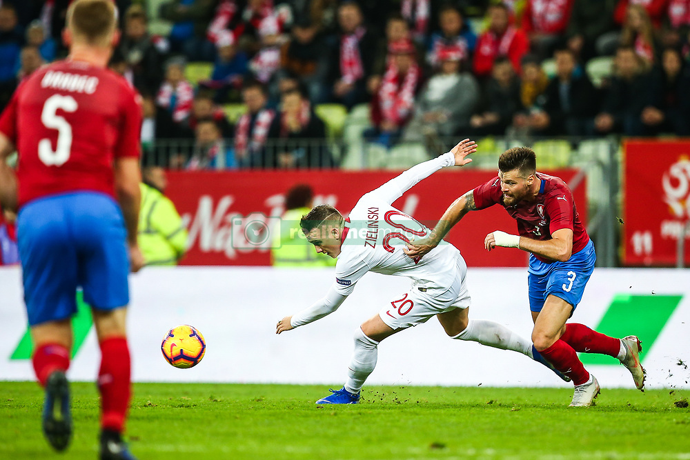 November 15, 2018 - Gdansk, Poland - Piotr Zielinski of Poland vies Ondrej Celustka of Czech Republic during the international friendly soccer match between Poland and Czech Republic at Energa Stadium in Gdansk, Poland on 15 November 2018. (Credit Image: © Foto Olimpik/NurPhoto via ZUMA Press)
