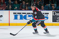 KELOWNA, CANADA - OCTOBER 26: Jonathan Smart #6 of the Kelowna Rockets skates with the puck against the Victoria Royals on October 26, 2016 at Prospera Place in Kelowna, British Columbia, Canada.  (Photo by Marissa Baecker/Shoot the Breeze)  *** Local Caption ***