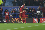 GOAL - Liverpool celebrate in front of their fans during the Premier League match between Leicester City and Liverpool at the King Power Stadium, Leicester, England on 26 December 2019.
