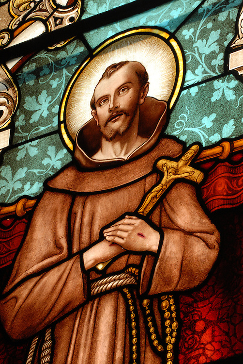 stained glass image of St. Francis of Assisi. (Sam Lucero photo)