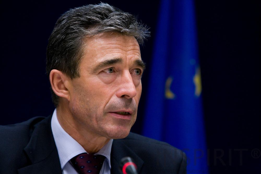 BRUSSELS - BELGIUM - 16 OCTOBER 2008 -- European Council, EU-summit under French Presidency; The Danish Prime Minister Anders Fogh RASMUSSEN during the final press conference after the summit.  Photo: Erik Luntang.