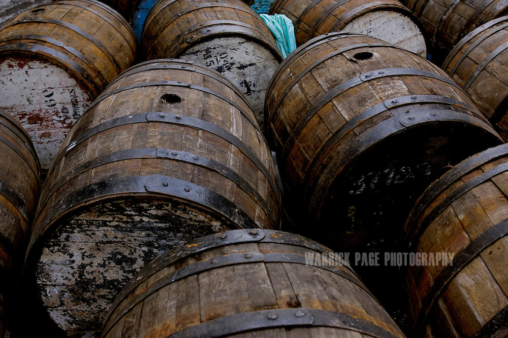 RAWALPINDI, PAKISTAN - DECEMBER 21: Oak barrels used to mature whiskey at the Murree Brewery, December 21, 2006, Rawalpindi, Pakistan. The brewery boasts the first 20 year-old malt whiskey in the Muslim world, due for release in mid-2007. Established more than a century ago under British Raj, Murree Brewery also is Pakistan's oldest company and one of two breweries in a country under prohibition. Muslims have been banned from drinking alcohol since it was outlawed in 1977, but Christians and Hindus may still buy alcohol. The brewery hopes to export the exclusive whiskey to Europe and the Middle East. (Photo by Warrick Page)