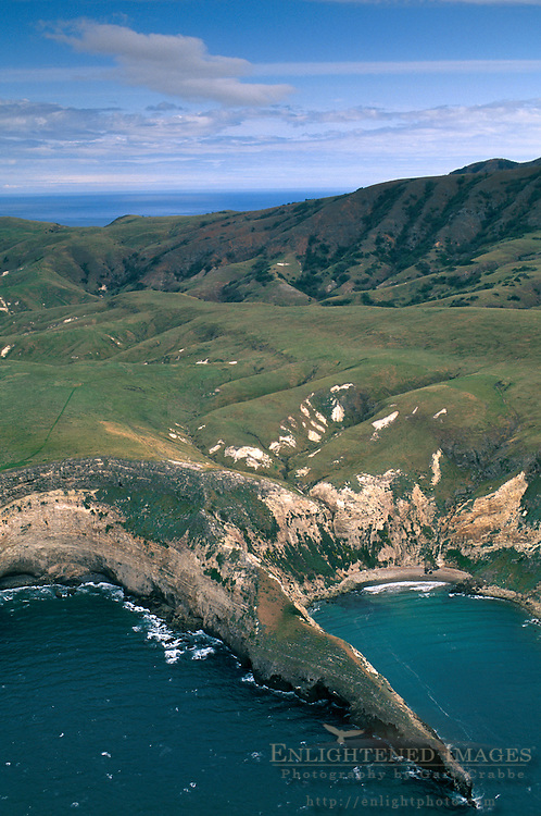 Aerial over the coast of Santa Cruz Island, Channel Islands, California