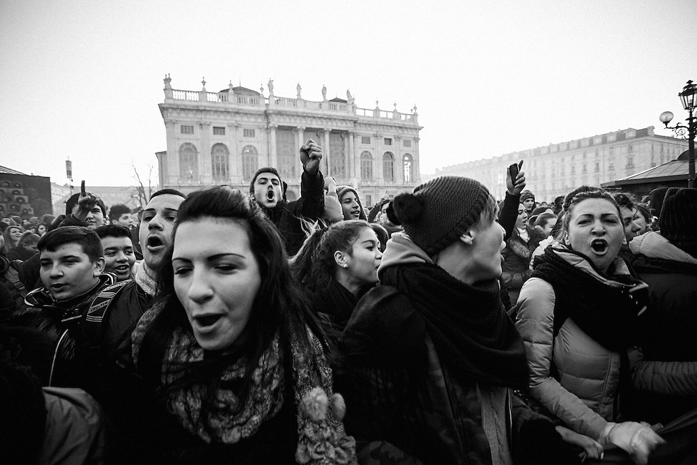 Turin, 2013/12/11, &quot;Pitchfork&quot; rebellion.<br /> Protesters chanting slogans against regional government.