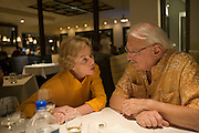 Carl Doumani and Pam Hunter of Quixote Winery at Go Fish Restaurant in St, Helena, Napa Valley, CALIFORNIA..