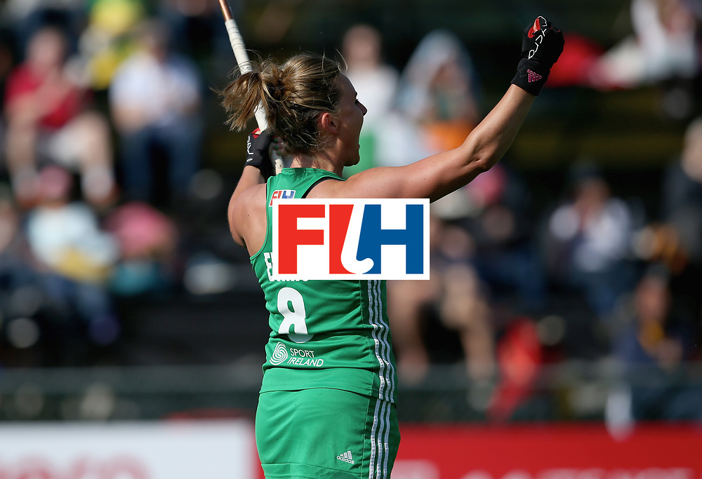 JOHANNESBURG, SOUTH AFRICA - JULY 12: Nicola Evans of Ireland celebrates scoring their teams first goal during day 3 of the FIH Hockey World League Semi Finals Pool A match between Ireland and Poland at Wits University on July 12, 2017 in Johannesburg, South Africa. (Photo by Jan Kruger/Getty Images for FIH)